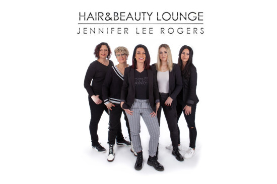 HP Hair and Beauty Lunge Team mit Logo