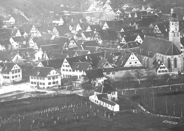Altes Bilde mit Blick auf die Stadt
