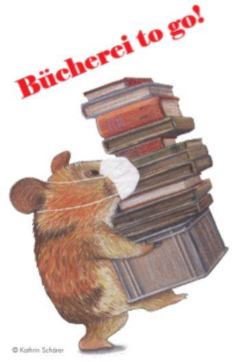 """Karikatur: Maus mit Maske trägt einen Stapel Bücher mit dem Schriftzug """"Bücherei to got"""""""