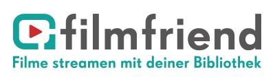 """Logo von filmfriend mit Schriftzug """"filmfriend - Filme streamen in deiner Bibliothek"""""""