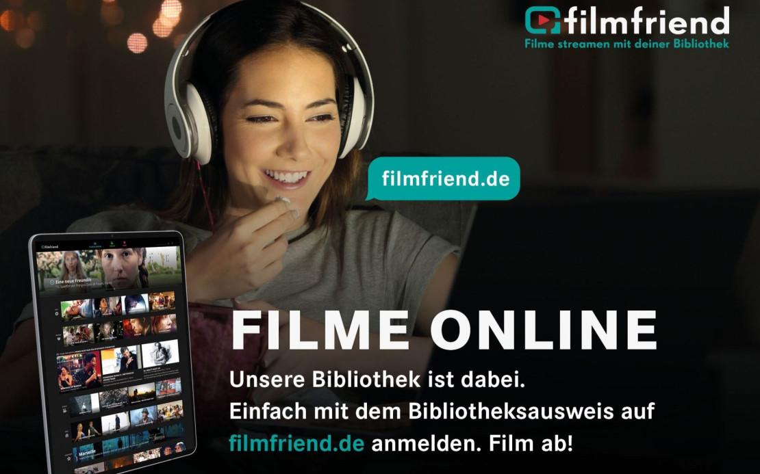 """Frau mit Kopfhörer und den Schriftzug """"filmfriend, Filme online"""""""