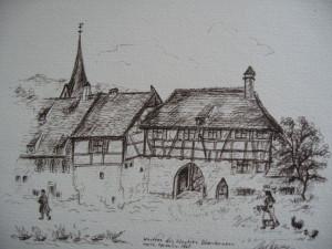 Federzeichung Klosterhof
